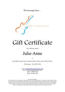 Gift Voucher Sydney Guitar Lessons